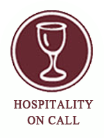 burgundy hospitality on call icon with text